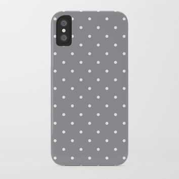 Small White Polka Dots with Grey Background by CoolFunAwesomeTime