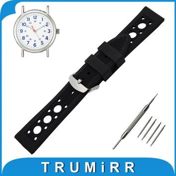19mm 20mm 21mm 22mm Silicone Rubber Watch Band for Timex Weekender Expedition Stainless Tang Buckle Wrist Strap Bracelet