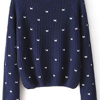 ROMWE | Navy Long Sleeve Bow Embroidered Jumper, The Latest Street Fashion