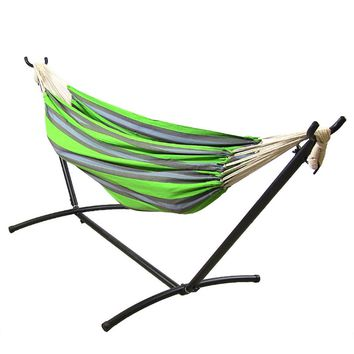 Sunnydaze Decor Midnight Jungle Woven Cotton Hammock with Stand