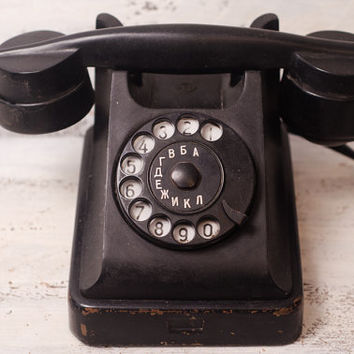 Vintage phone VEF black Rotary dial Phone working phone Industrial Office supply brass plaque