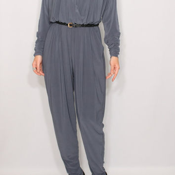 Gray jumpsuit Long sleeve jumpsuit Batwing jumpsuit