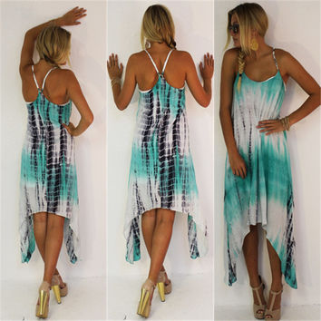 Green Printed Halter Backless Cross Asymmetrical Hem Dress