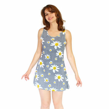 Vintage Summer Sheath Checkered Dress. 70s Floral Print. Smiley Face Print. Cotton Dress in Blue White Yellow. Mini Dress Size Medium