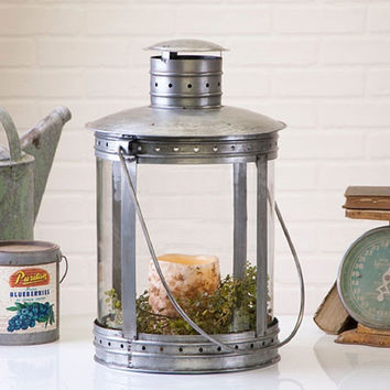 Large  Lantern with Glass Cylinder in Antiqued Brushed Tin Finish