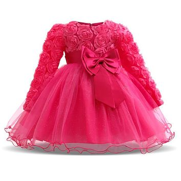 Winter Christmas Baby Girl 1 Year Birthday Little Dress Infant Christening Gowns Kids Party Wear Clothes Girls Boutique Clothing