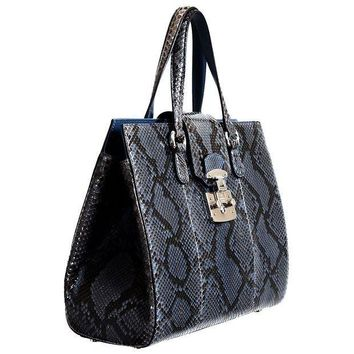 CREYIX5 Gucci Women's Caspian Blue Python Skin Handbag Shoulder Bag