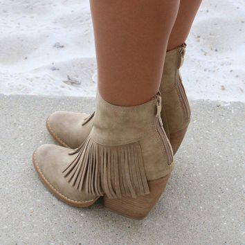 Very Volatile Khloe Beige Fringe Booties Wedge Heel