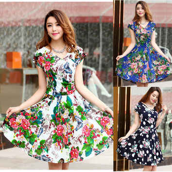 Vestidos 2016 summer new Styles plus size women pleated V-Neck dress waist show thin sand Maxi printed Dresses