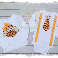 Boy Girl Matching Outfit with Chevron Owl Appliqué and Boys Chevron Tie Bodysuit with Suspenders-Big Sister Little Brother Set
