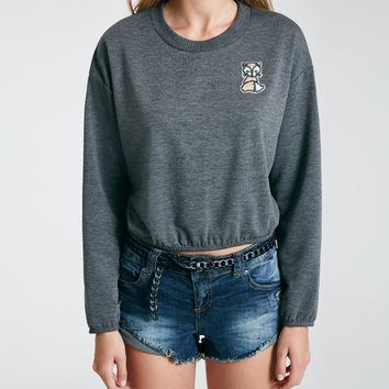 Cropped Pullover With Sequin Fox Applique | Wet Seal