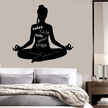 Vinyl Wall Decal Meditation Room Words Yoga Buddhism Stickers Unique Gift (ig3723)