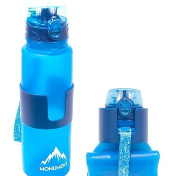 Monument Collapsible Water Bottle - One Touch Cap - Insulated, 100% BPA-Free, 22 Ounces