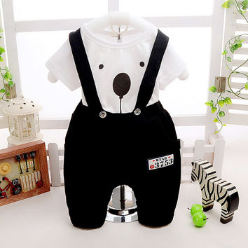 Dog pattern t shirt+strap pants 2pcs baby boys clothes pajamas for infants clothing suit baby boys outfits