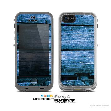 The Grunge Blue Wood Planks Skin for the Apple iPhone 5c LifeProof Case