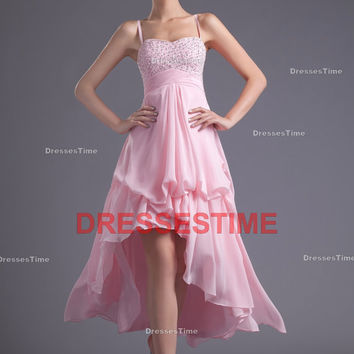 Pink prom dress - Stunning high-low sexy homecoming dress / spaghetti long evening dress / sweetheart pretty cocktail dress with beading