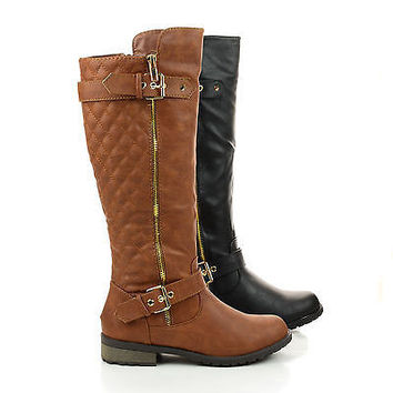 Mango21 Tan Pu By Forever, Knee High Quilted Buckle Riding Moto Boots