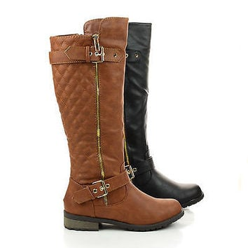 Mango21 Knee High Quilted Buckle Riding Moto Boots