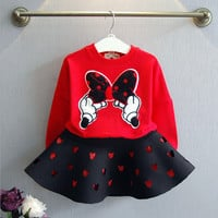 Toddler Girl Clothing Long Sleeve Cotton  Character Mouse Kids Girls Clothes Girls Boutique Clothing  Top +Skirt Girl Clothing