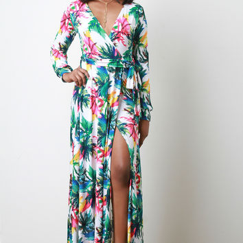 Abstract Floral Surplice V-Neck Waist Tie Long Sleeves Maxi Dress