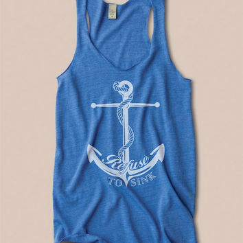 READY TO SHIP Anchor Eco Heather Racerback Tank Top by KindLabel