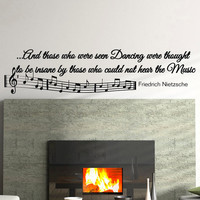 Music Wall Decal Quote - Vinyl Lettering Music Notes Wall Sticker Friedrich Nietzsche Quotes Art Home Decor Q007