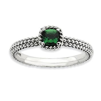 Antiqued Sterling Silver Stackable Created Emerald Ring