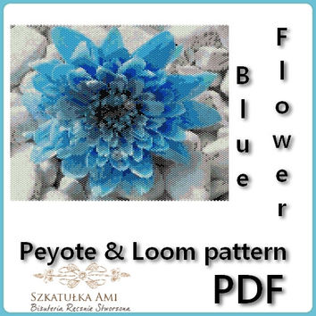 Tapestry Blue Flower Peyote and Loom Pattern - 2 pdf