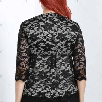 Stylish V-Neck Half Sleeve Plus Size Lace Blouse For Women