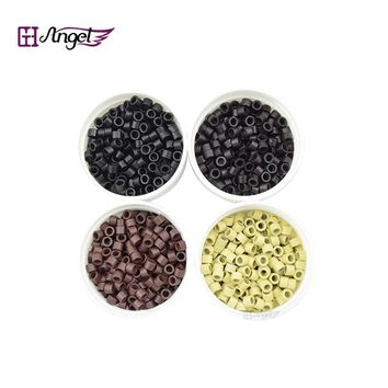 Angels 1000pcs 3.5*2*2mm Smallest Aluminium Tubes Micro Rings/Links/Beads for Feather I Tip Human Hair Extensions Hair Tools