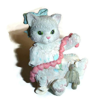 Vintage Calico Kitten Figurine Collectible, Gray Porcelain Kitty, Ceramic Cat Statue, Kawaii Kitty, Pet, Friendship Gift, Little Girls Decor