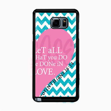 Pink Heart Chevron Bible 1 Corinthians for Samsung Galaxy Note 5 Case *NP*