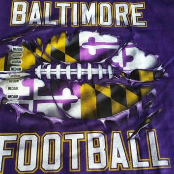 New RIPPED MARYLAND FLAG FOOTBALL T SHIRT BALTIMORE RAVENS