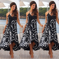 Backless Patterned Maxi Dress