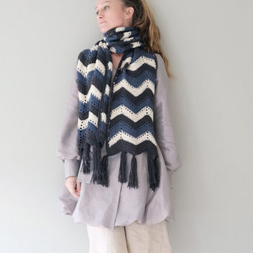 PATTERN For Unisex Scarf / Crochet Chevron Striped Ripple Zig Zag Long Scarf /Pattern PDF-Instant Download /Detailed Instructions In English