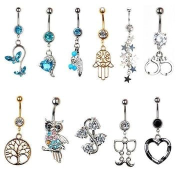 ac ICIKO2Q Sexy Body Piercing Navel Body Jewelry Dangle Flower Heart Tree of Life Crystal Navel Bell Button Rings