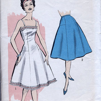 1950's Misses' Slip And Petticoat - Advance 8818 - Vintage Sewing Pattern - Bust 34""