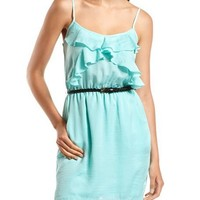 Hammered Satin Ruffle-Front Dress: Charlotte Russe