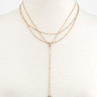 Crystal & Triangle Lariat Necklace | Necklaces