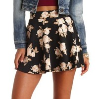 Floral Print High-Waisted Skater Skirt - Black Combo