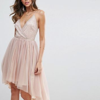 ASOS Ballerina Mesh Sparkle Tulle Midi Dress at asos.com