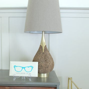 Retro Desk Lamp, Mid Century Modern Lamp, Cork Lamp,  Laurel Lamp