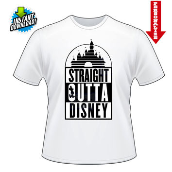 Straight Outta Disney Mickey Mouse Printable Digital Iron On Transfer Clip Art DIY Tshirts Instant Download We Can Personlize!!