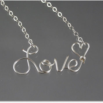 FREE SHIPPING!!!  Love Wire Word Pendant Necklace