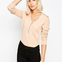 Weekday Long Sleeve Zip Front Top