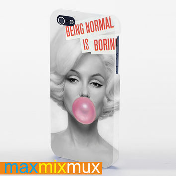 Marilyn Monroe With Pink Bubble Gun iPhone 4/4S, 5/5S, 5C Series Full Wrap Case