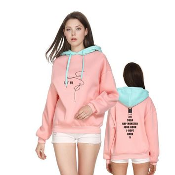 KPOP BTS Bangtan Boys Army Patchwork Design   LY Turn Tear Hoodies Women Autumn Winter Thick Contrast Color Sweatshirt Fans Support Team Streetwear AT_89_10