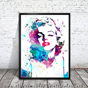 Marilyn Monroe Watercolour Painting Print, watercolor painting, watercolor art, Illustration,Marilyn Monroe poster, Celebrity Portraits,