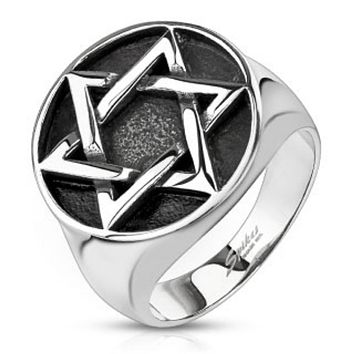 Star of David Medallion Cast Ring Stainless Steel