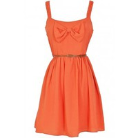 Lily Boutique Country Concert Bow Front Dress in Rust Coral - DRESSES Lily Boutique
